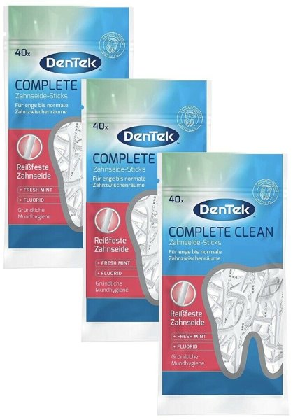 3x DenTek Complete Clean Zahnseidesticks VE 40 = 120 Stück